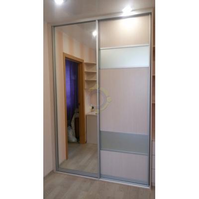 Шкаф-купе 2-х дверный, комбинированная дверь